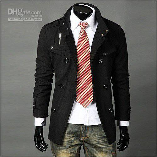 2018 Trench Coat Mens Long Winter Coats Mens Black Mens Fashion ...