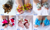 Wholesale Crochet Flower Baby Sandals Cotton - New children's feet flower foot ornaments baby foot ring baby foot strip Barefoot Sandals