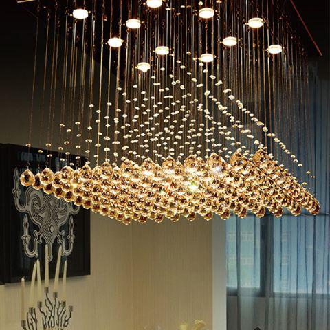 Lámpara de cristal piramidal araña de cristal k9 sala de estar Halbinsel