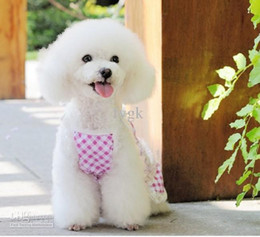 10Pcs lots New spring and summer styles Pet clothing Pet dog baby Pet Lattice Dress pink