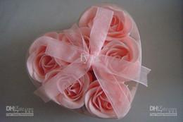 Wholesale Paper Soap Heart - 60pcs (6pcs=1box) soap flower heart shape handmade rose petals rose flower paper soap mix color
