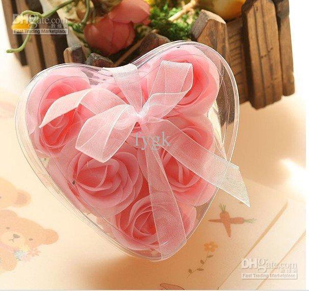 180 unids flor de jabón en forma de corazón hecho a mano pétalos de rosa color de la mezcla de jabón de papel de flor rosa 6 unids = 1 caja