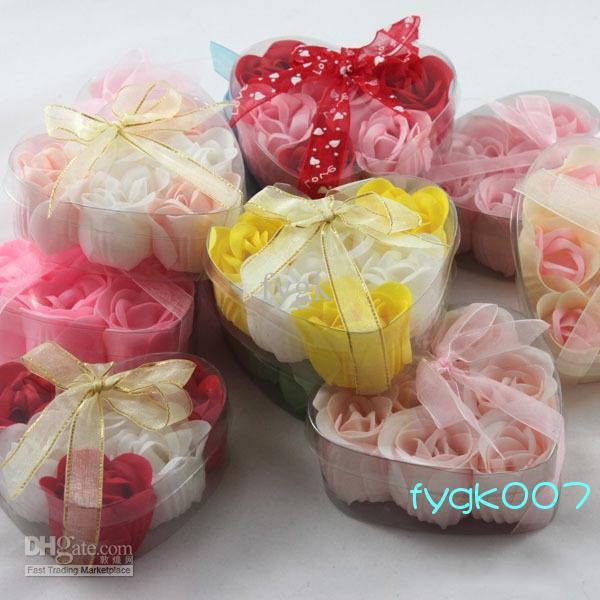 (6pcs=1box) 120pcs soap flower heart shape handmade rose petals rose flower paper soap mix color