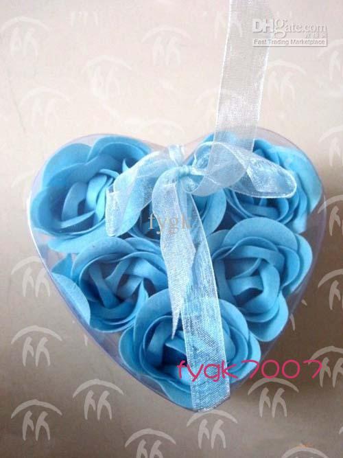 60pcs (6pcs = 1box) sabão flor coração forma artesanal rosa pétalas rosa flor papel sabão mistura cor