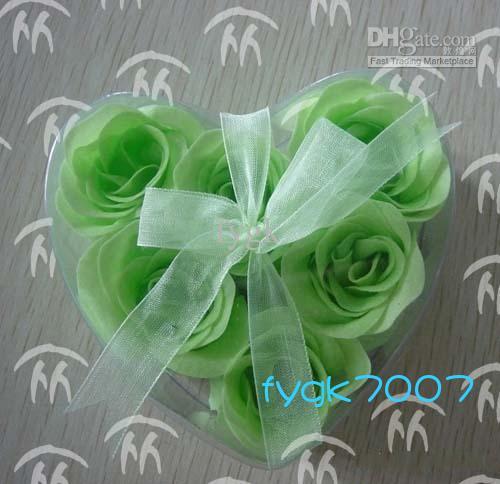 (6pcs = 1box)120ピース石鹸の花ハート形の手作りのバラの花びらバラの花紙の石鹸の混合色