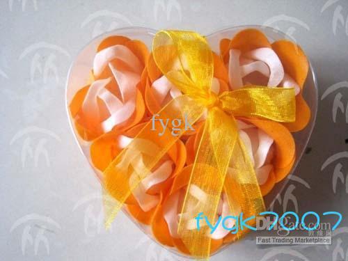 (6pcs = 1box) 120pcs tvålblomma hjärta form handgjorda rosenblad rose blomma papper tvål mix färg