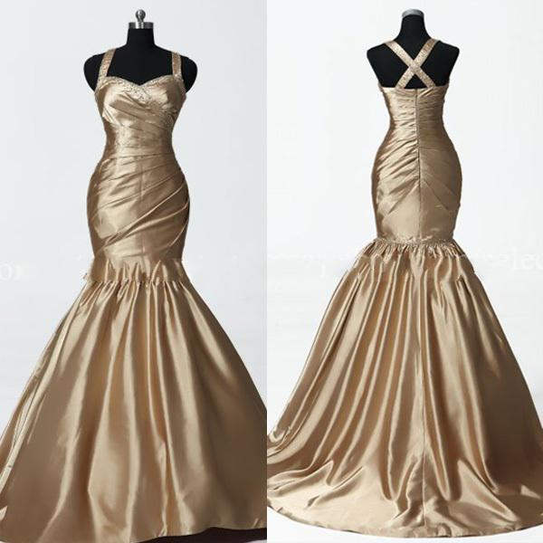 Mermaid gold bronze bridal wedding dress beaded prom party for Gold beaded wedding dress