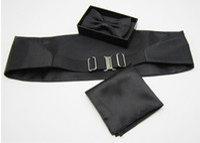 Wholesale Girdle Decoration - black Men's dress Elegant Bow girdle + tie + scarf + Gift Set Decoration Dress Cummerbund