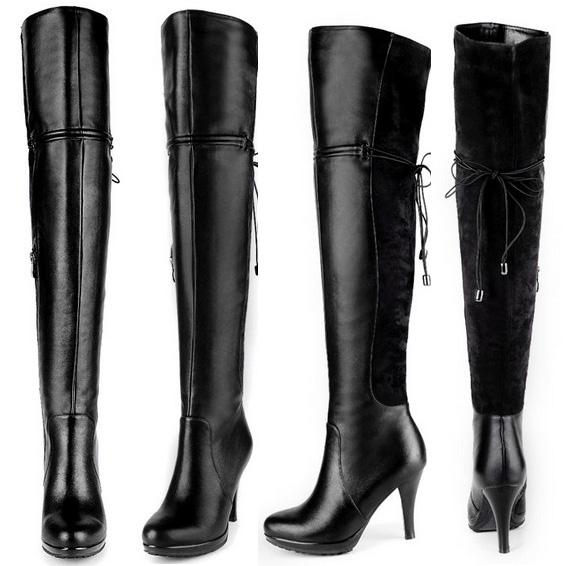 Genuine Leather Thigh High Black Boots For Women High Heels Over ...