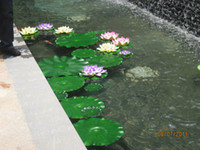 Wholesale flower artificial lotus floating water for sale - Group buy Large Simulation Lotus leaf Artificial Silk Lotus flower leaf floating water Plants