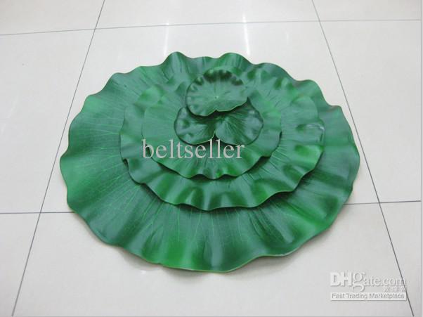 Konstgjord silke lotus blomma blad Stor storlek Lotus blad flytande vatten växter 20st