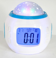 Wholesale Colorful Music Romantic Night Light Starry Star Sky Projection projector with Alarm Clock Calendar Thermometer with retail package