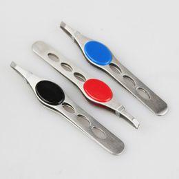 Wholesale Metal Tweezers - Tweezers Metal Makeup Tool 12pcs lot Tweezer Stainless Steel Slant Tweezer Eyebrow Tweezers 100 MM Long