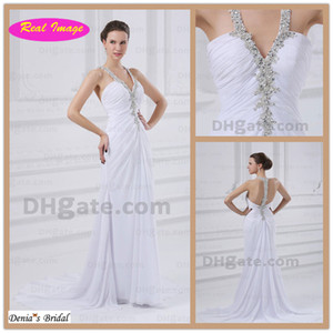 2015 Summer Beach Halter Wedding Dresses Beaded Lace Appliques Sweep Train Chiffon Bridal Gowns dhyz 01 on Sale