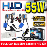 Wholesale Hid 55w Set - 10 Sets 55W Canbus(EMC+EMI) Slim Ballasts HID Xenon Conversion Kits 12V Fit For BMW Benz Audi VW Ford Single Beam H1 H3 H4 H7 9004 All Color