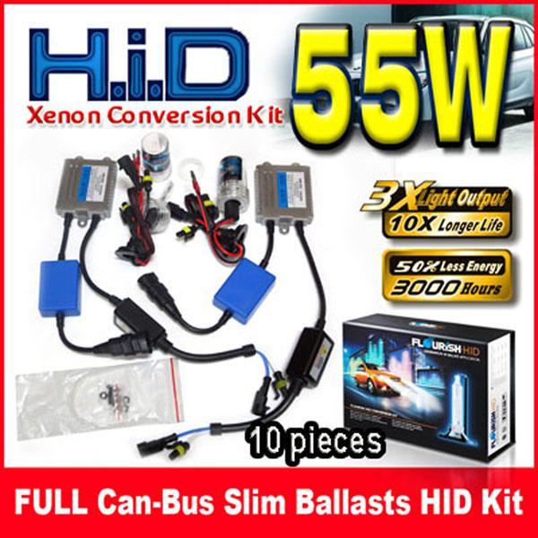 10 Takım 55 W Canbus (EMC + EMI) İnce Balastlar HID Xenon Dönüşüm Kitleri 12 V Fit BMW Benz Audi VW Ford Için Tek Kiriş H1 H3 H4 H7 9004 Tüm Renk