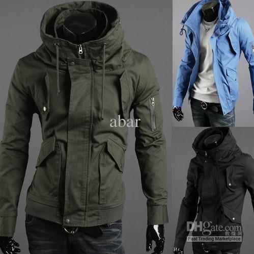 Men's Coat Outerwear Jacket Men Slim The Arm Zipper Design High ...