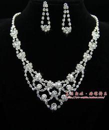 A jóia da noiva strass casado Colar Brincos Set Acessórios Para Noivas venda por atacado