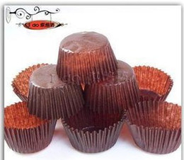 Wholesale Muffins Cups - 4200pcs lot food grade paper cupcake cases baking tool cake cup muffin cases cake liners brown