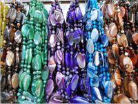 ingrosso agata le fette-Fette di agata blu a strisce di malay Jia Sijia più collana di perle