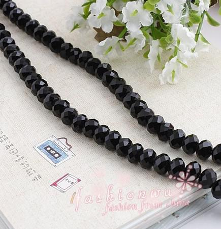 MIC Hot sell Schwarz Faceted Kristall Rondelle Bead 8mm Fit Armbänder Halskette Schmuck DIY