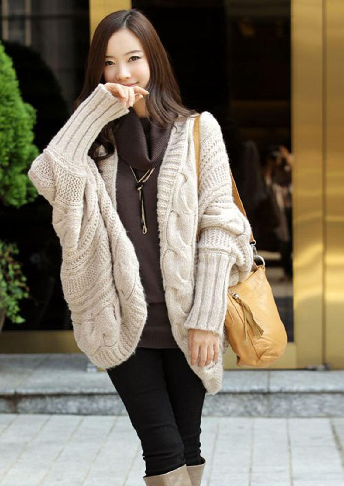 2018 Batwing Sleeve Loose Style Slouchy Knit Pattern Sweater Coat ...