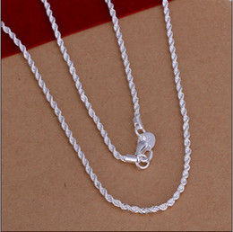 Wholesale Low Priced Sterling Silver Jewelry - Low Price Top Quality 2MM 16-24inches 925 sterling silver twisted rope chain necklace fashion jewelry free shipping