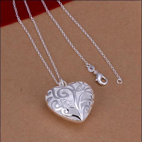 Alta calidad 925 incrustaciones de plata corazón de circón collar colgante de regalo del día de San Valentín 10 unids / lote joyería