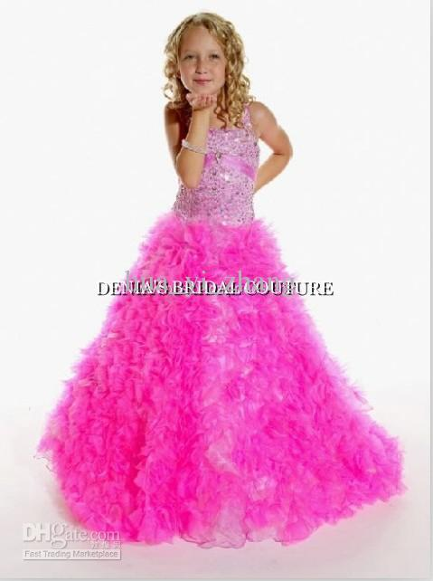 Pink Ball Gown Little Girl Pageant Red Carpet Dresses Princess Tank ...