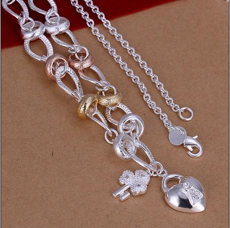Haute qualité 18 pouces argent 925 incrusté zircon coeur serrure pendentif collier cadeau de Noël 5pcs / lot