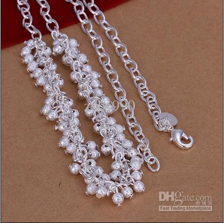 La alta calidad 925 granos de plata de la uva fijó el envío libre 10pcs / lot del regalo de la Navidad del collar del cuello