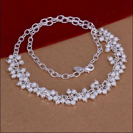 Högkvalitativ 925 Silver Grape Pärlor Postat Neck Halsband Julklapp Gratis Frakt 10st