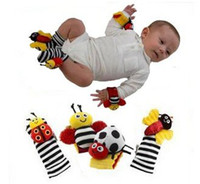 Wholesale Baby toys cartoon wrist rattle stripe socks Lady bug bee designs toys
