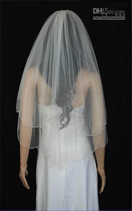 エッジベッドの美しい2層の結婚式のベールTS004