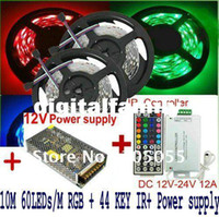 Wholesale led christmas lights power supply for sale - Group buy 10M Meter RGB Led Strip Light SMD LedS Flexible Waterproof IR Remote Controller A Power Supply Stage Party Christmas By DHL