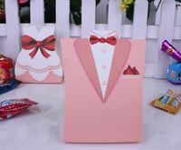 Wholesale Tuxedo Favour Boxes - Wholesale Hot sell 400pcs lot New TUXEDO & DRESS Candy Box Groom Bridal Wedding Favours Boxes Gift