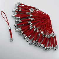 Wholesale Keychain Braided - Wholesale 1000 PCS New HOT RED Braided Keychain MP3 Cell Phone Strap LARIAT Lanyard Cords