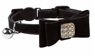 Luxo Zebra Preto Diamonte Bow Cat Collar safira fivela breakaway 30 pçs / lote