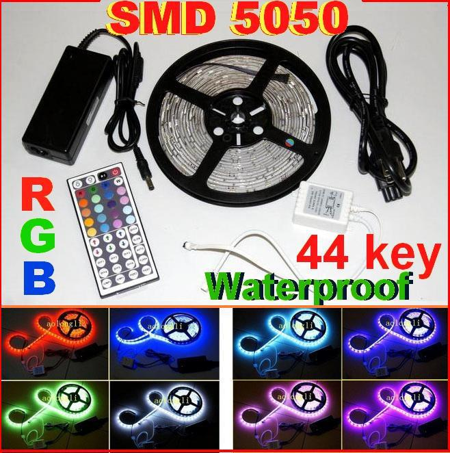 20m smd 5050 rgb led strip light 5m 300 led waterproof 12v 44 key ir remote control power. Black Bedroom Furniture Sets. Home Design Ideas