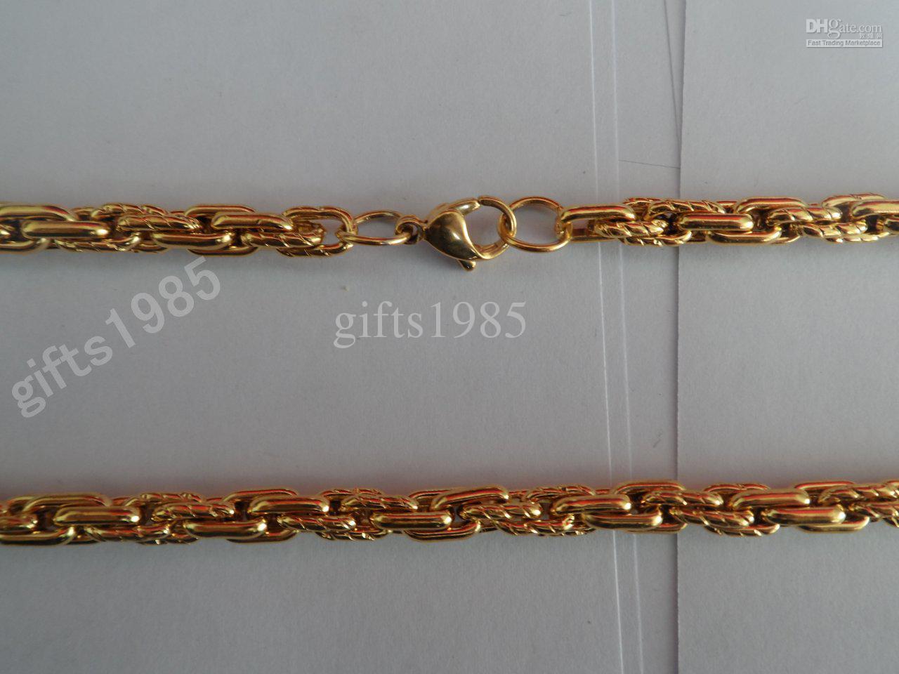Modèle de collier tendance multi-maillons en acier inoxydable plaqué or, envoyé à des amis