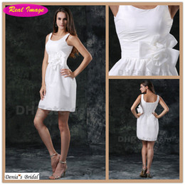 Wholesale Sexy Little White Beach Dresses - Sexy Little White Dress Sheath Wedding Dress Beach Bridal Gowns Scoop Neckline Handmade Flowers 100 dhyz 01