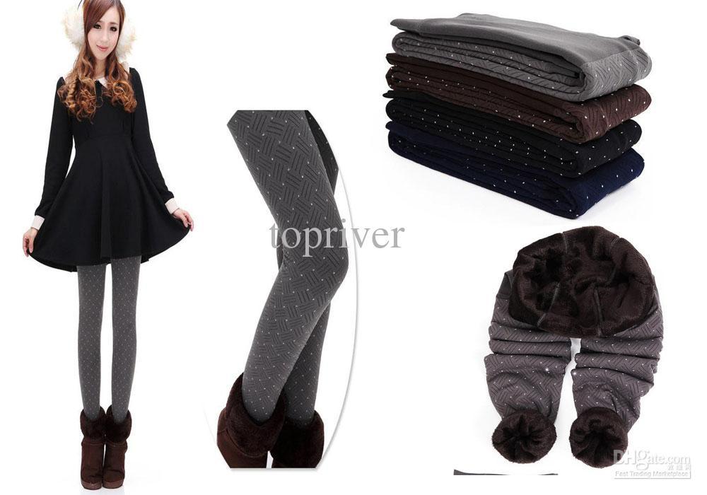 2018 women dot winter thick warm leggings ladies leggings ninth pants skinny tights legging from. Black Bedroom Furniture Sets. Home Design Ideas