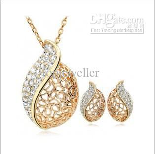 2018 NecklaceEarrings Cheap Gold Jewelry Sets Trendy Heart Hollow