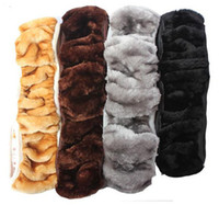 Wholesale Wool Steering Wheel Cover - 1PC New Sheepskin Fur Leather Car Steering Wheel Cover Genium Wool Material for winter Free Shipping