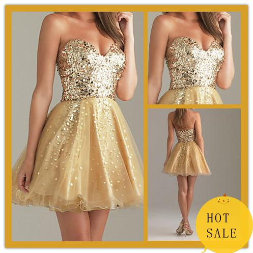 2012 Hot Sale Short Prom Dresses Gold Sweetheart Sequin Lace Cheap ...