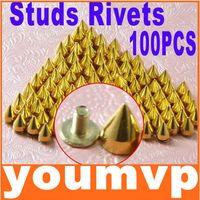 Wholesale Metal Bullet Spikes - 9.5mm Metal Bullet Rivet Gold Color Spikes Stud Punk Bag Belt Leathercraft Accessories