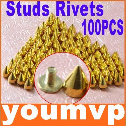 9.5mm Metal Bullet Rivet Gold Color Spikes Stud Punk Bag Belt Leathercraft Accessories