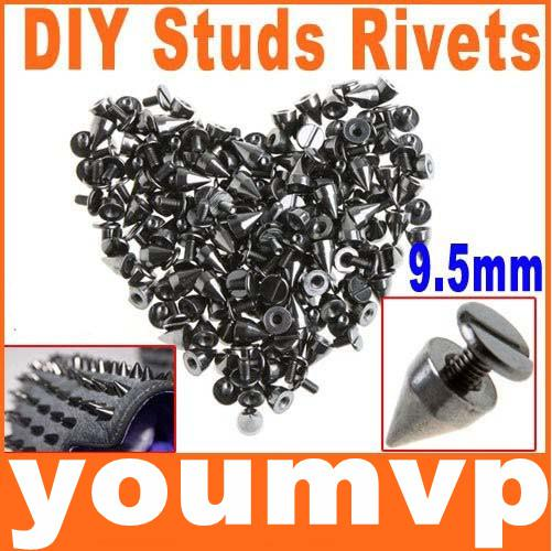 9.5mm Metal Spike Studs Bala Rebite Do Punk Bag Cinto Leathercraft DIY
