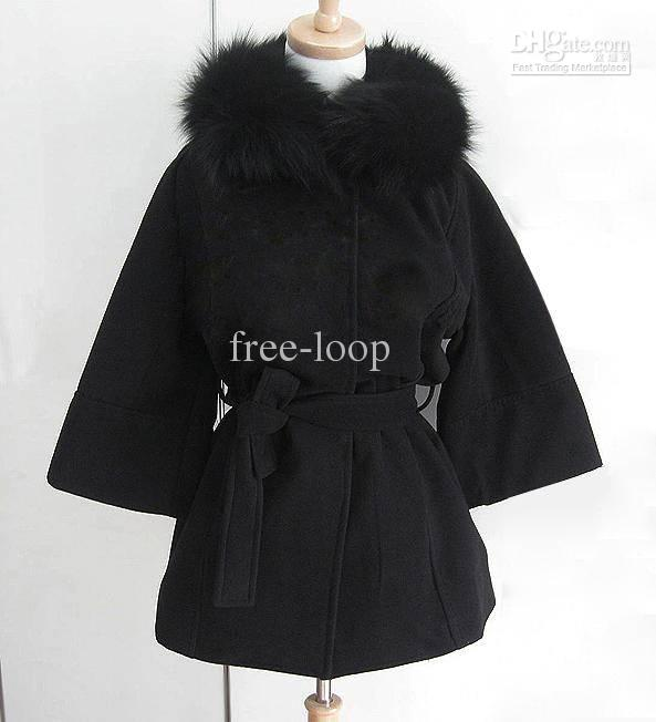 Womens coats 여성용 모피 후드가있는 긴 모직 코트와 크기의 ponchos 외투 Outerwear Coats 6819