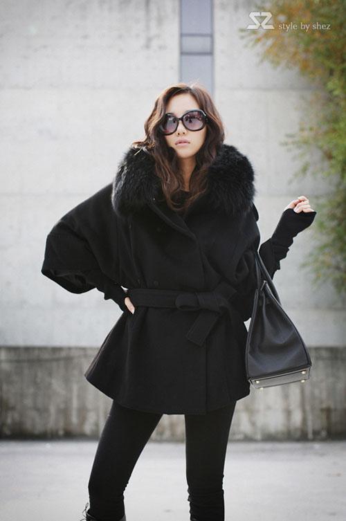 Kvinnor Coats damer päls hooded långa ullrockar plus storlek ponchos överrock ytterkläder lager 6819